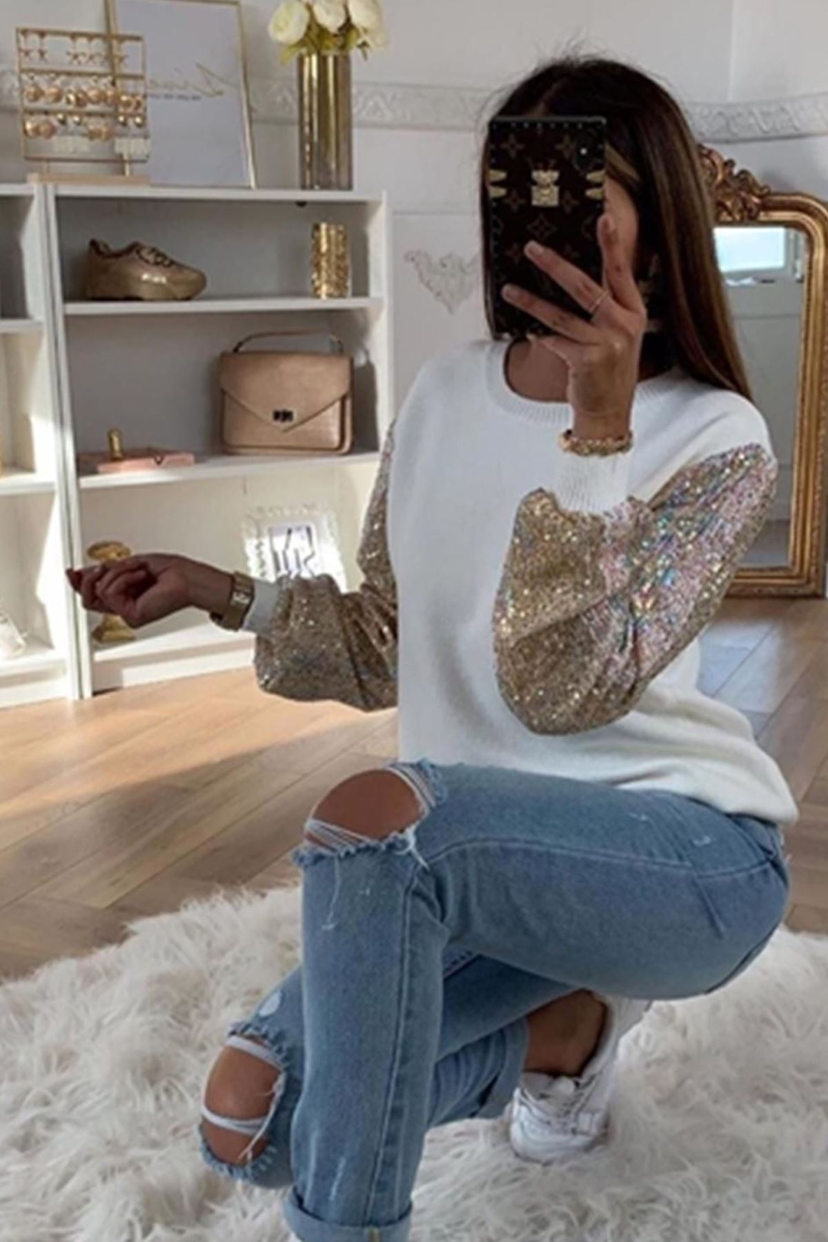 Kolları pull payet triko bluz - Ekru K81