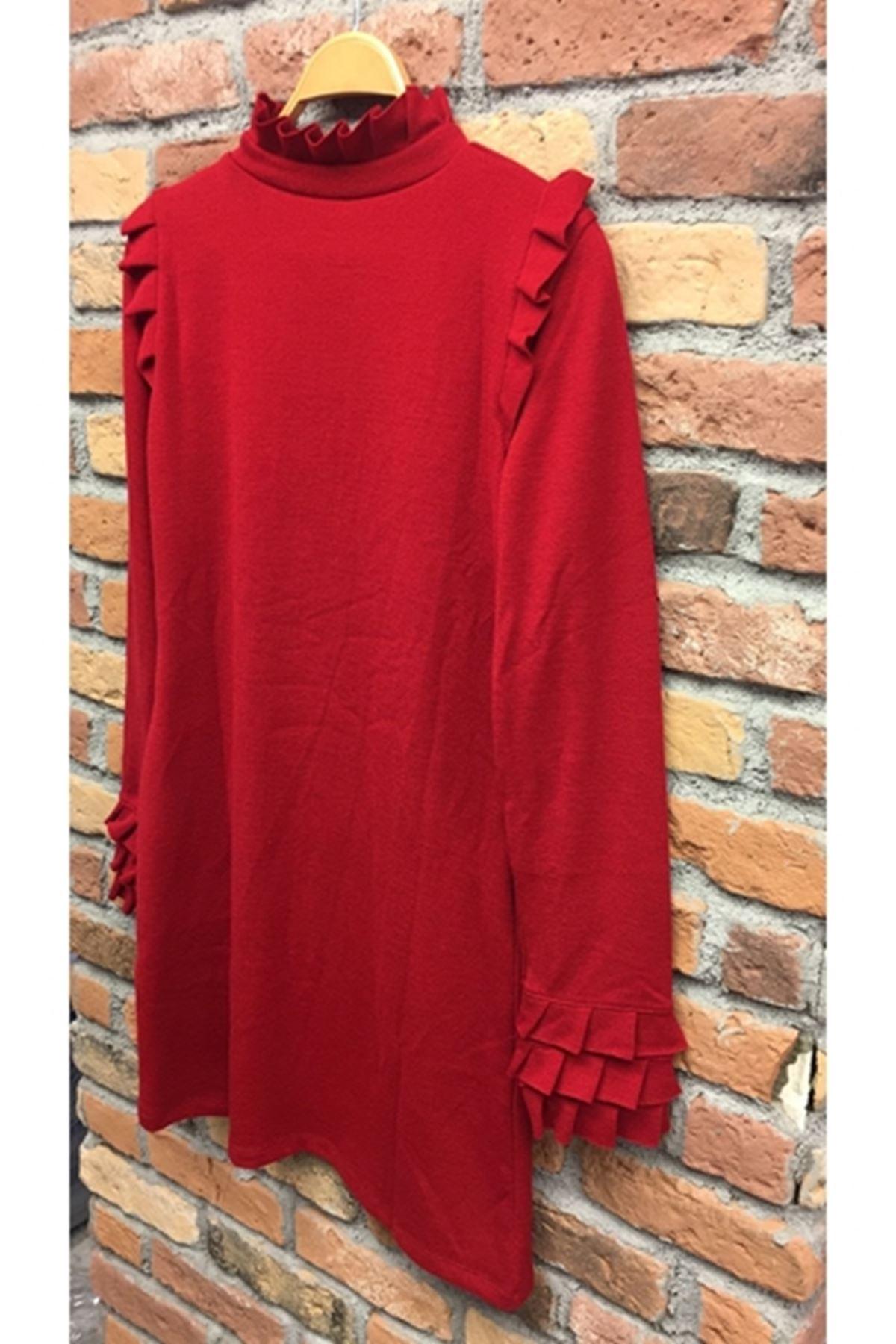 Yaka ve kol fırfır akrelik elbise VS127 KIRMIZI