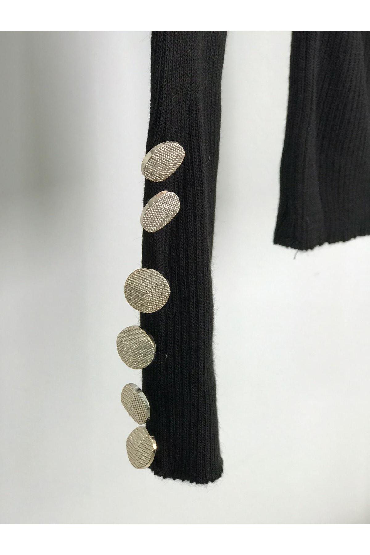 Kol ve omuz düğmeli boğazlı triko YSB152 SİYAH
