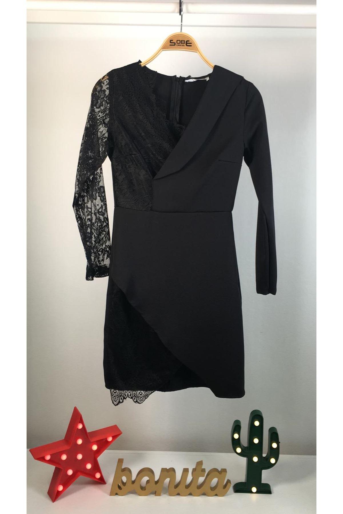 Tek taraf dantel tasarım elbise SİYAH
