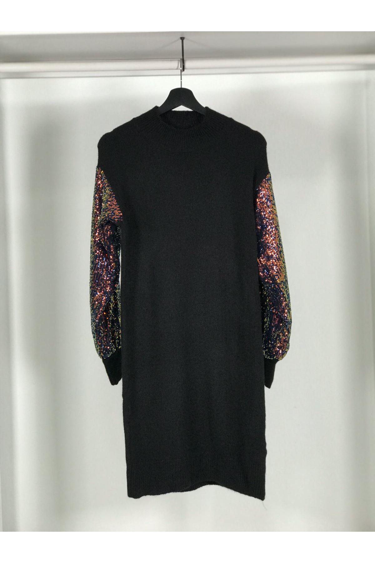 Kol pull payet elbise K97 SİYAH