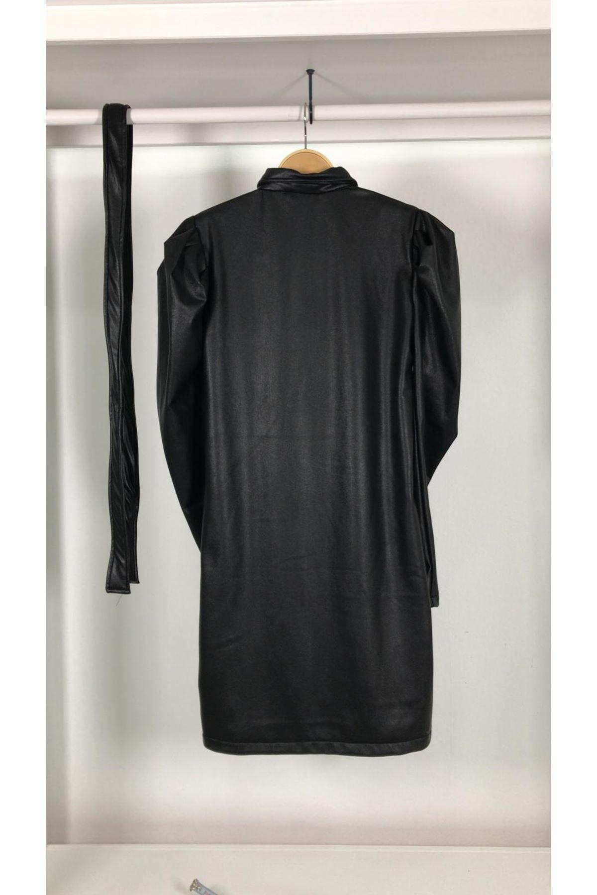 Kol Detaylı Jardonlu Deri Elbise S829 SİYAH