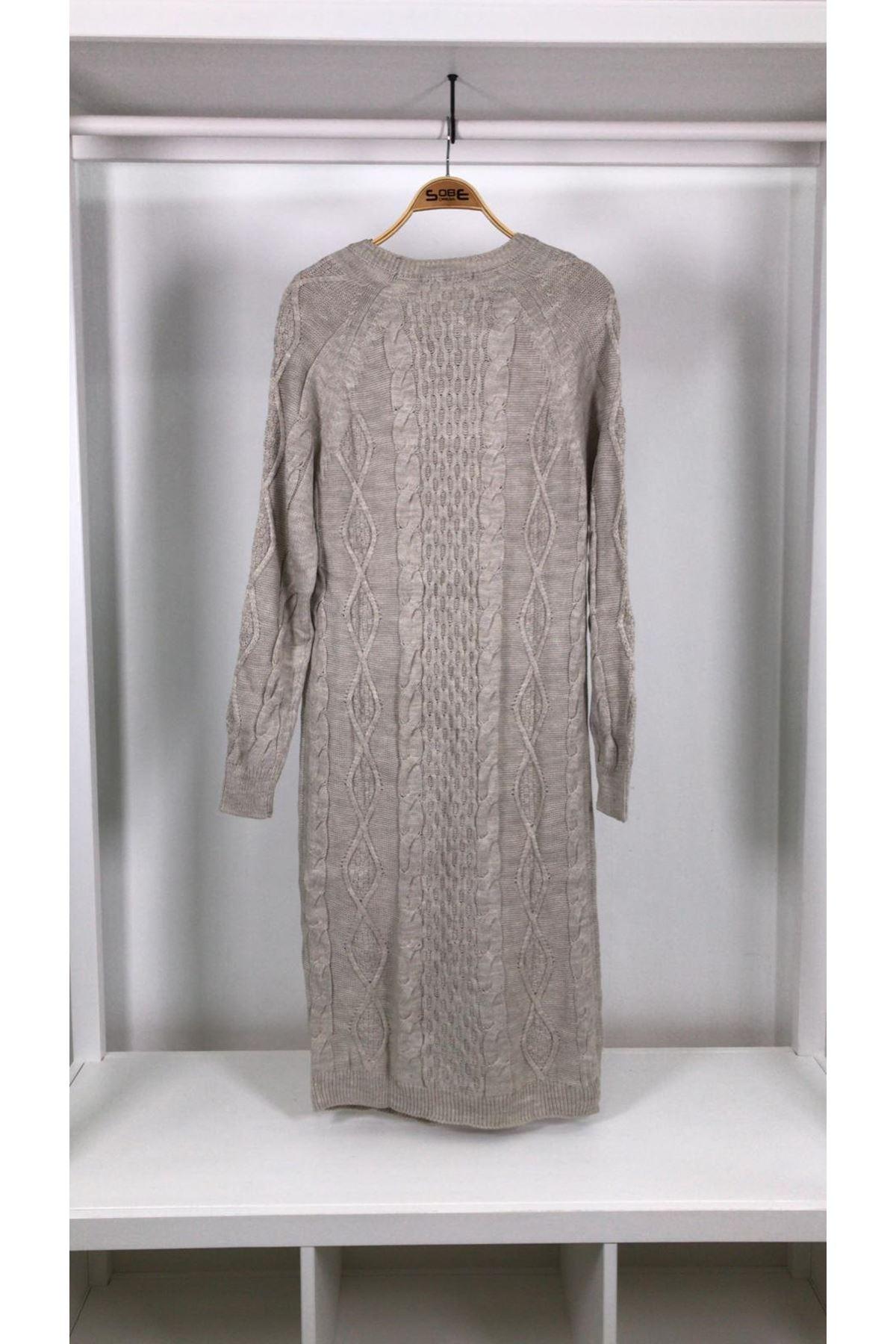 Salaş cepli trıko elbise TAŞ