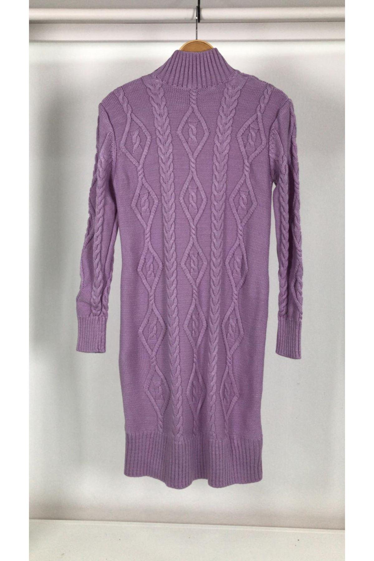 Örgü desen trıko elbise K93 LİLA