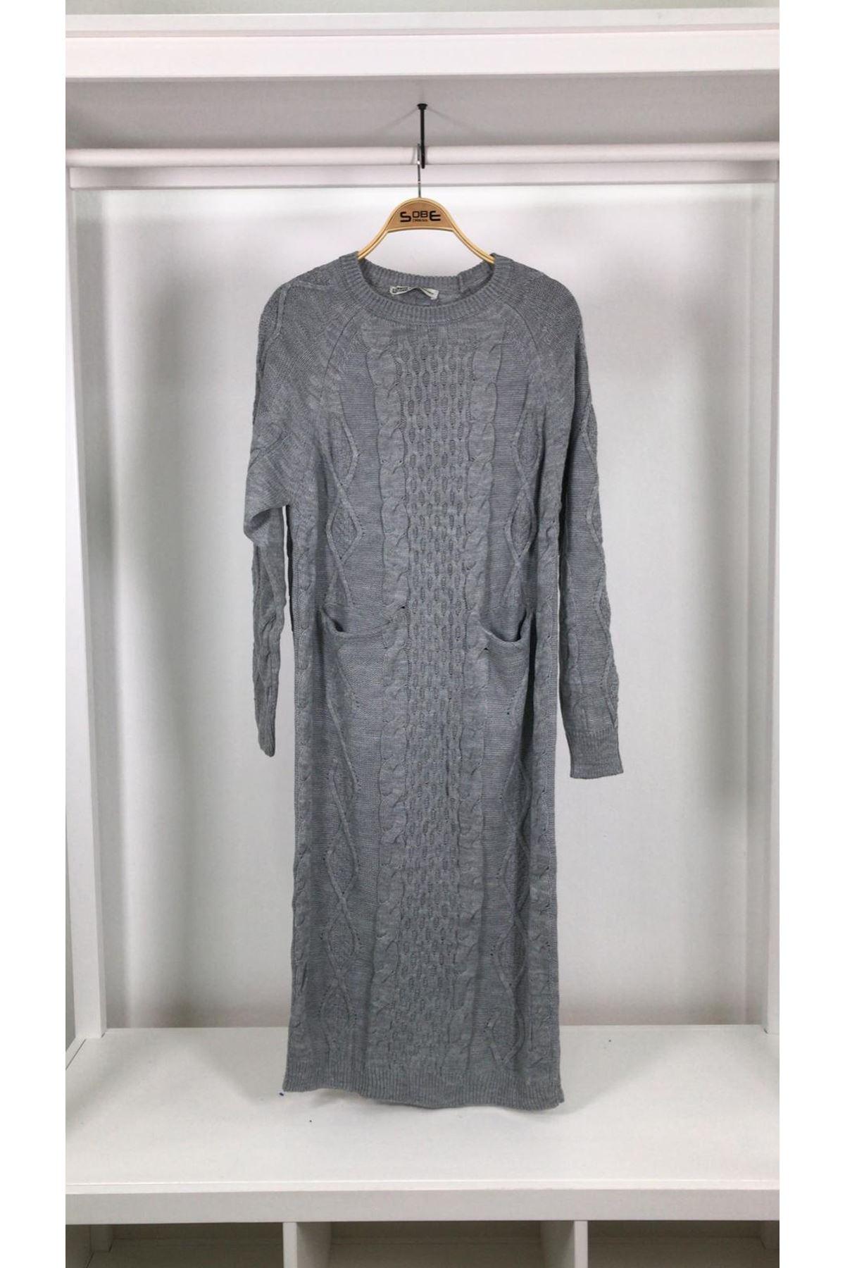 Salaş cepli trıko elbise GRİ