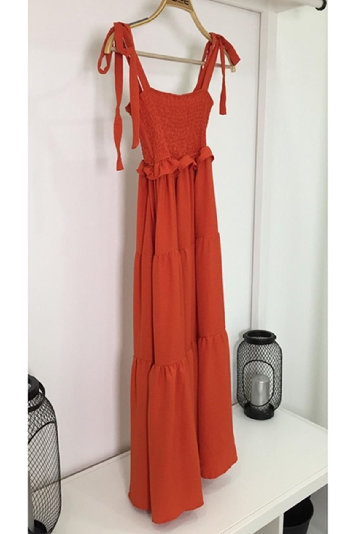 Gipeli elbise KİREMİT