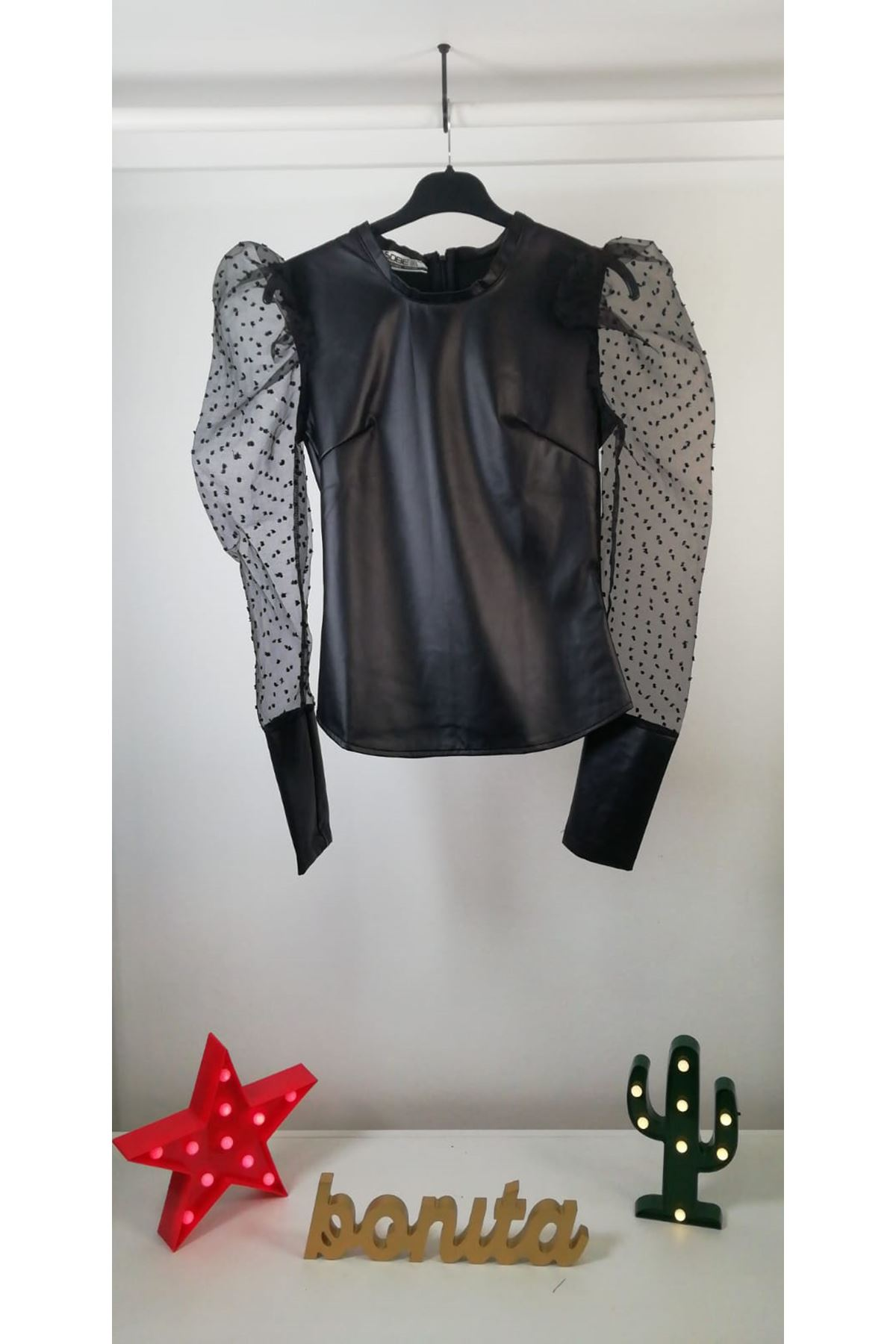 Puanlı  İthal Deri Bluz S814  SİYAH