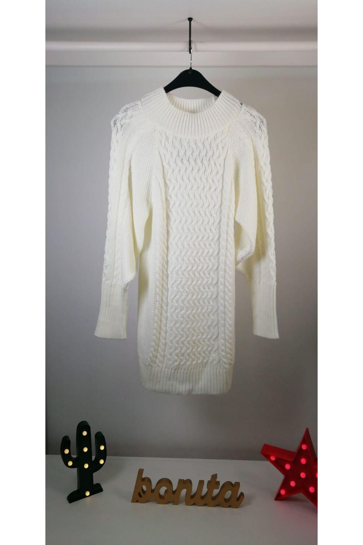 Saç örgü triko elbise KL943 EKRU