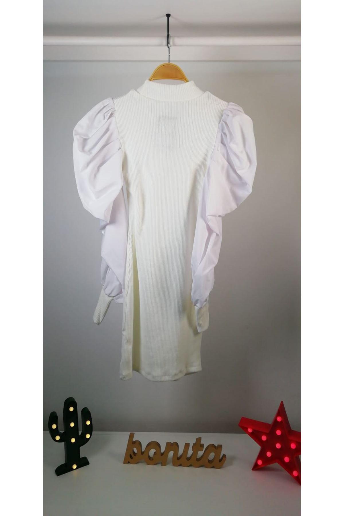 Kolları poplin akrelik elbise VS168 BEYAZ