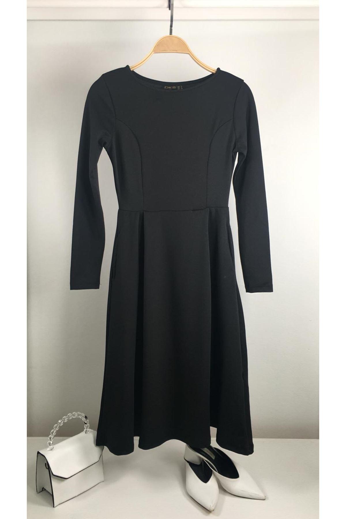 Yeni sezon siyah midiboy elbise SİYAH