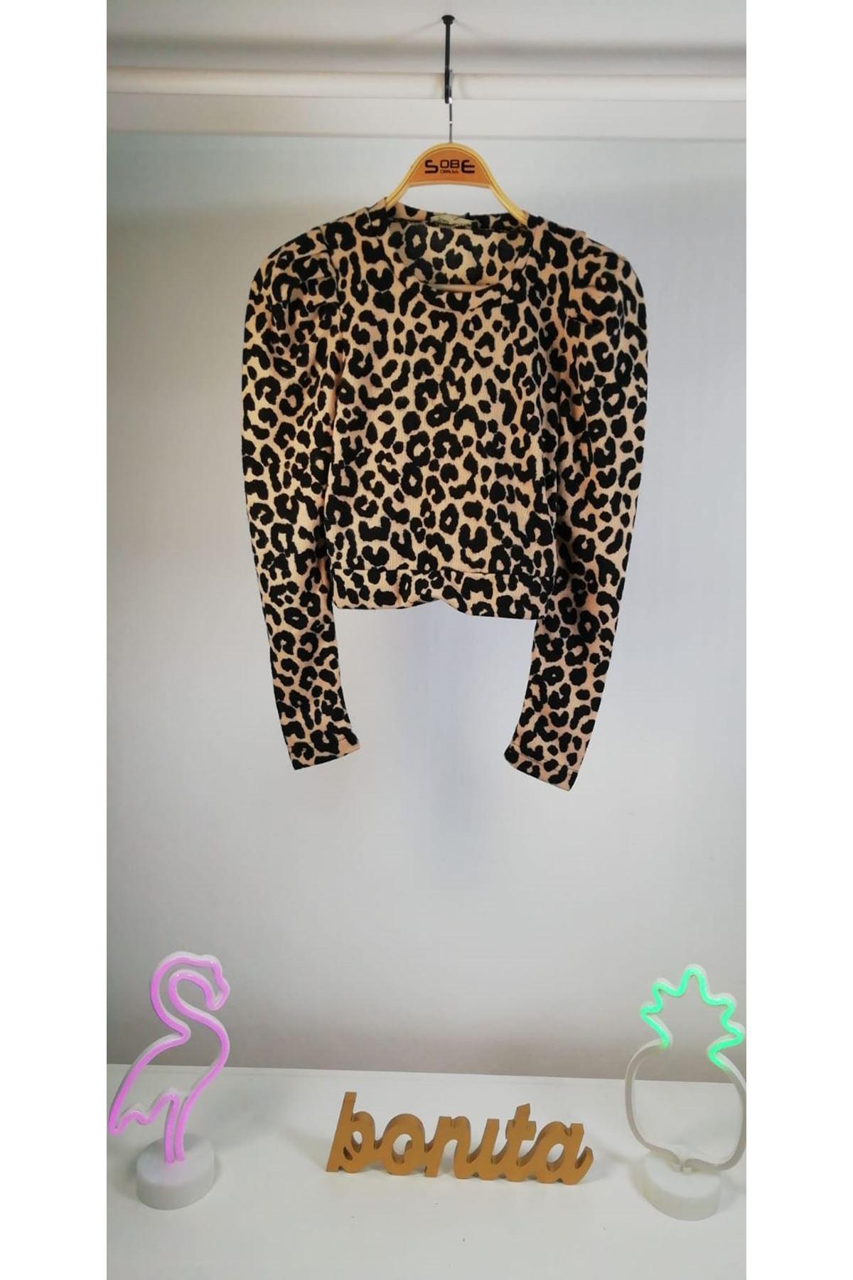 Leopar desen baskılı bluz MULTİ