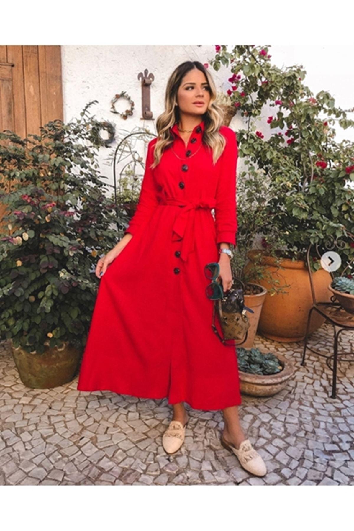 Vita Kırmızı Dokuma Elbise XMLSTD