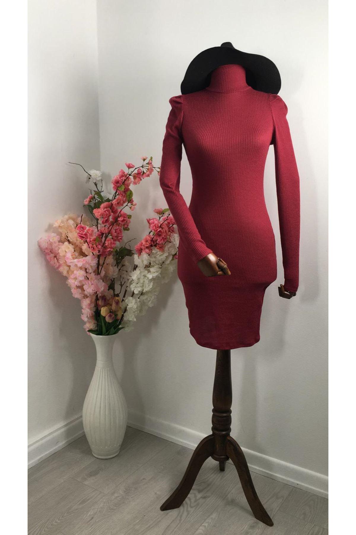 Prenses Omuz Kaşkorse Elbise - Bordo