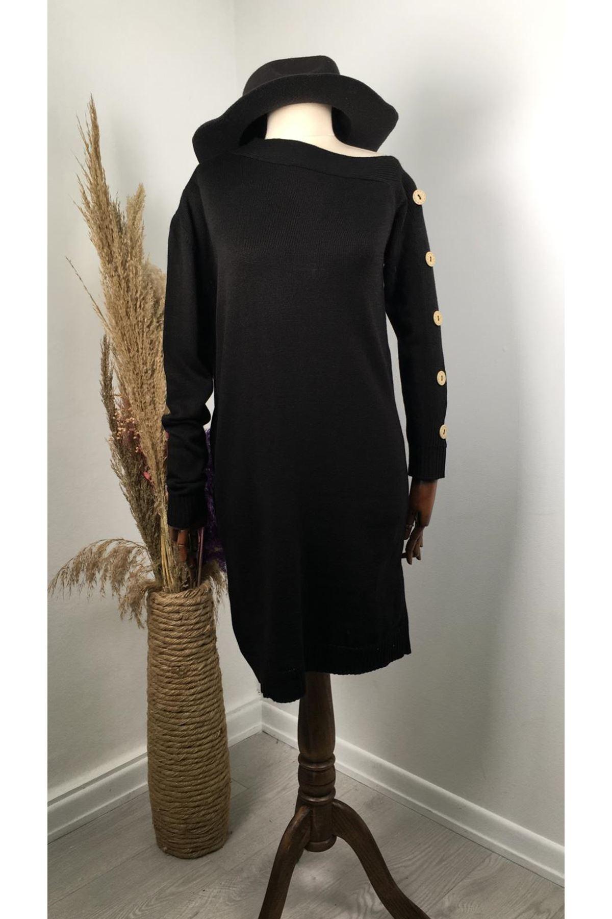 Omuz dekolteli kolları düğme detaylı triko elbise K88 SİYAH