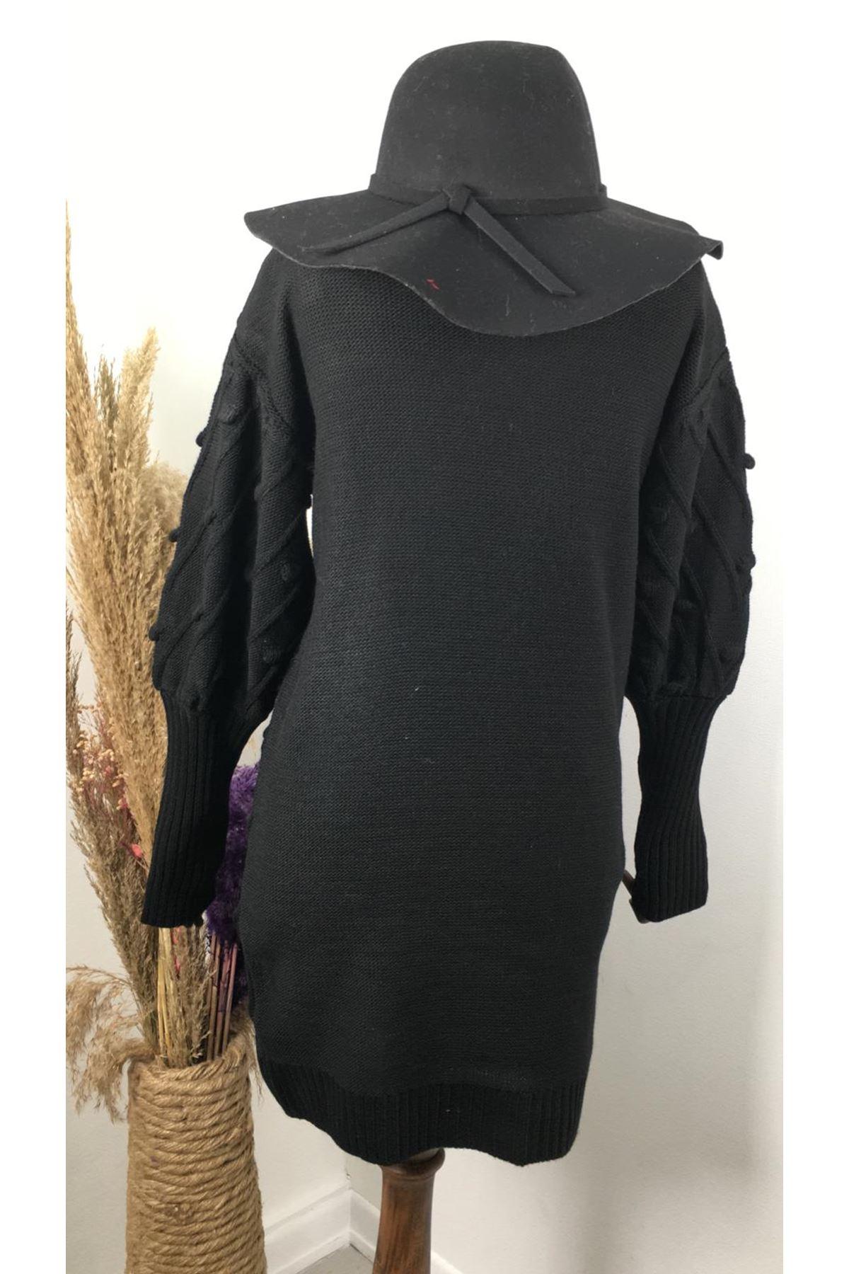 Ponponlu triko elbise K91 SİYAH
