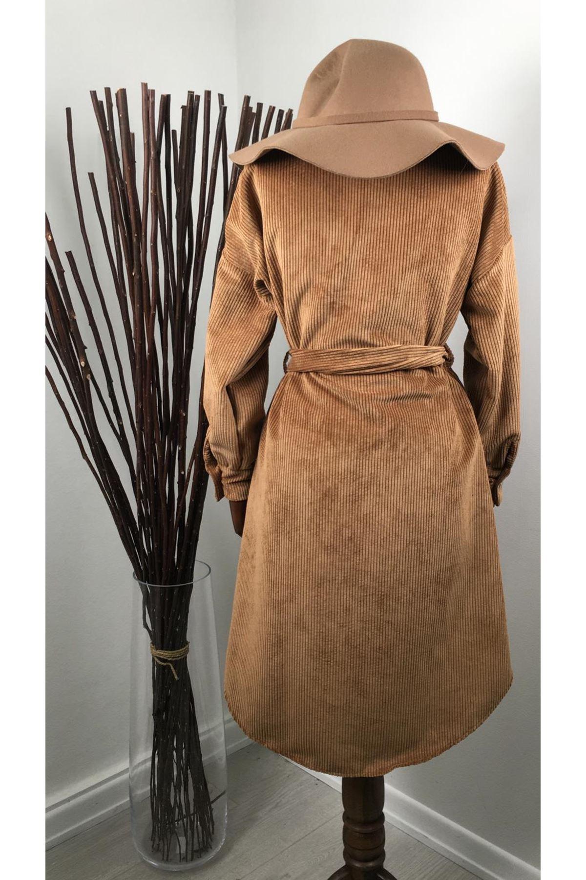 Belden Kuşaklı Kadife Gömlek Elbise M23 - Camel