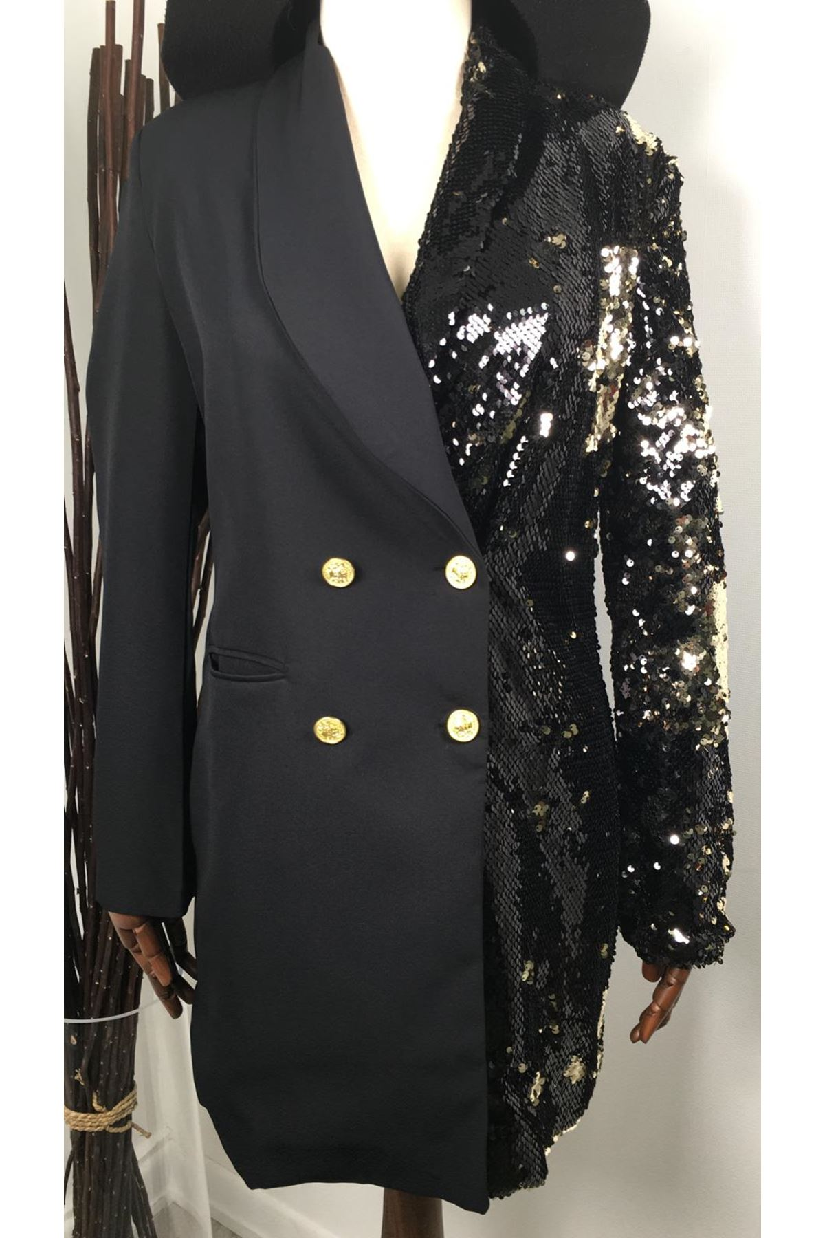 Tek taraf payet ceket elbise GOLD