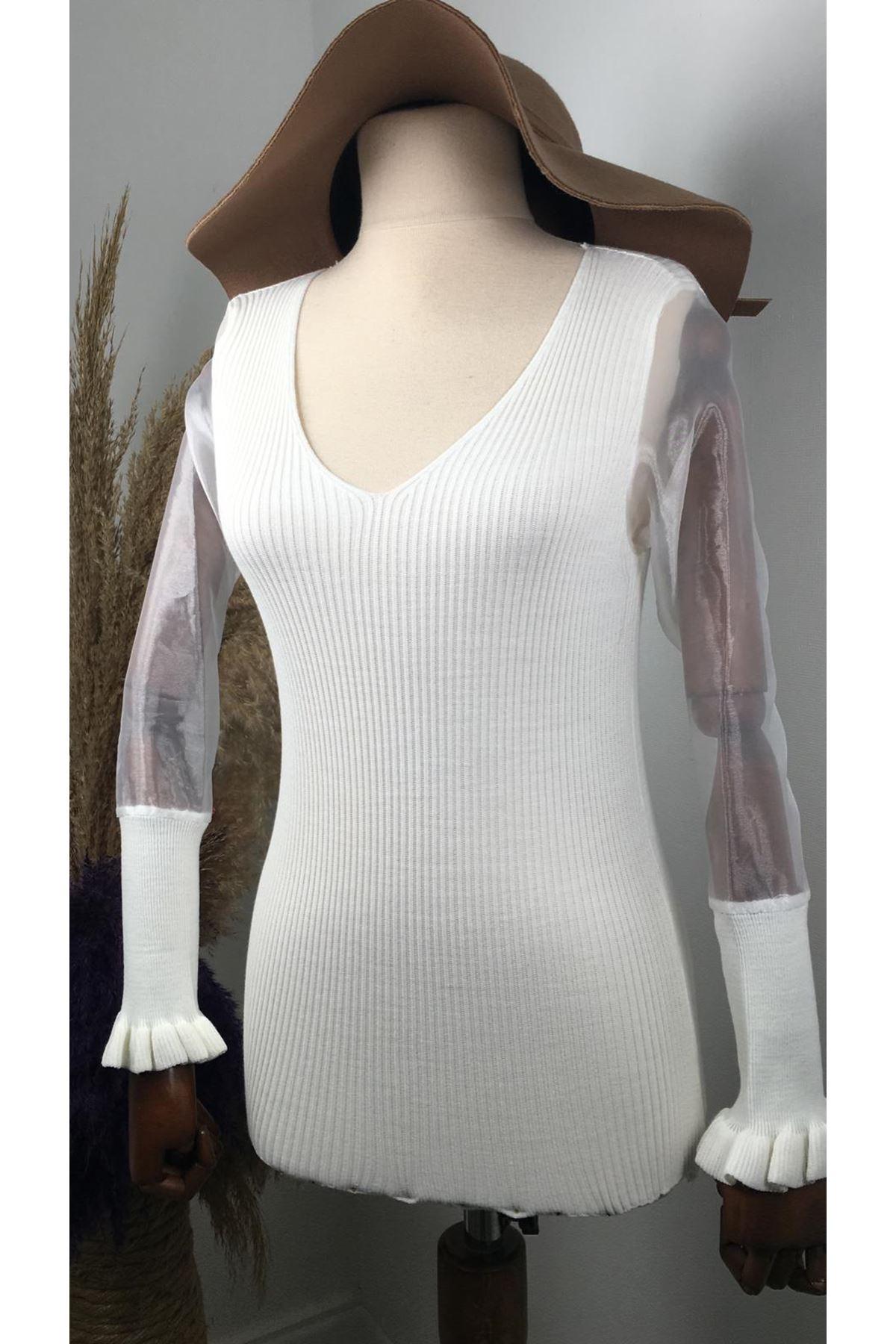 V yaka triko bluz YSB150  EKRU
