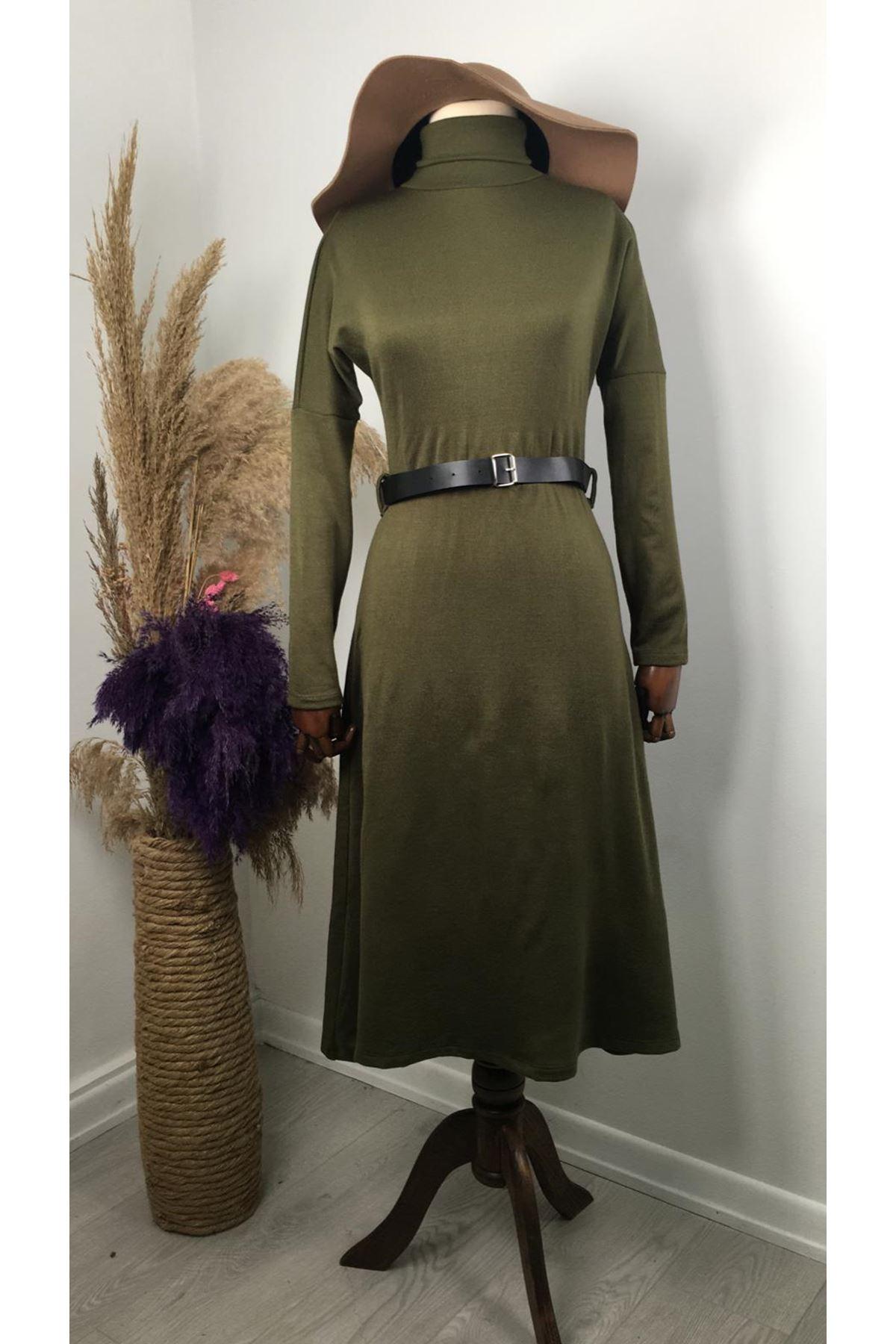 Kemerli Midiboy Triko Elbise VS189 - Haki