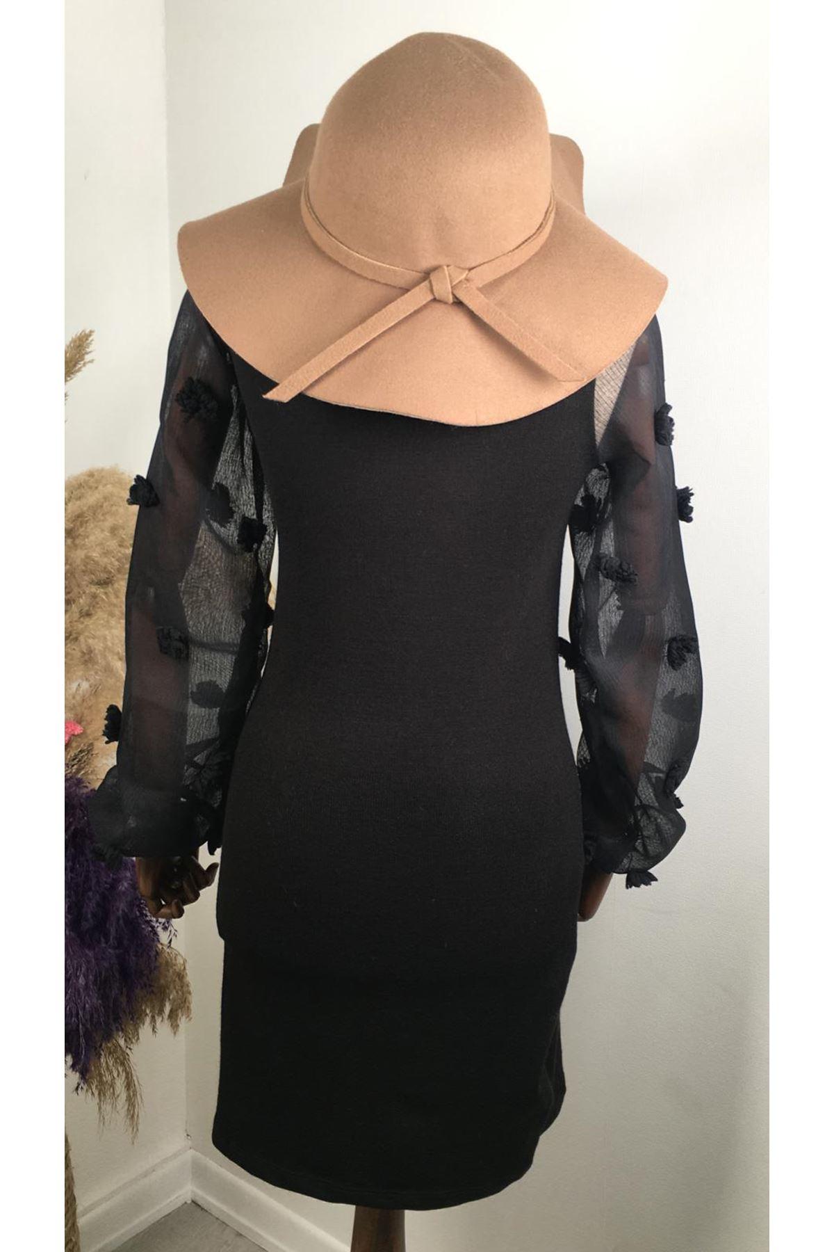 Süs detaylı akrelik triko elbise VS183  SİYAH