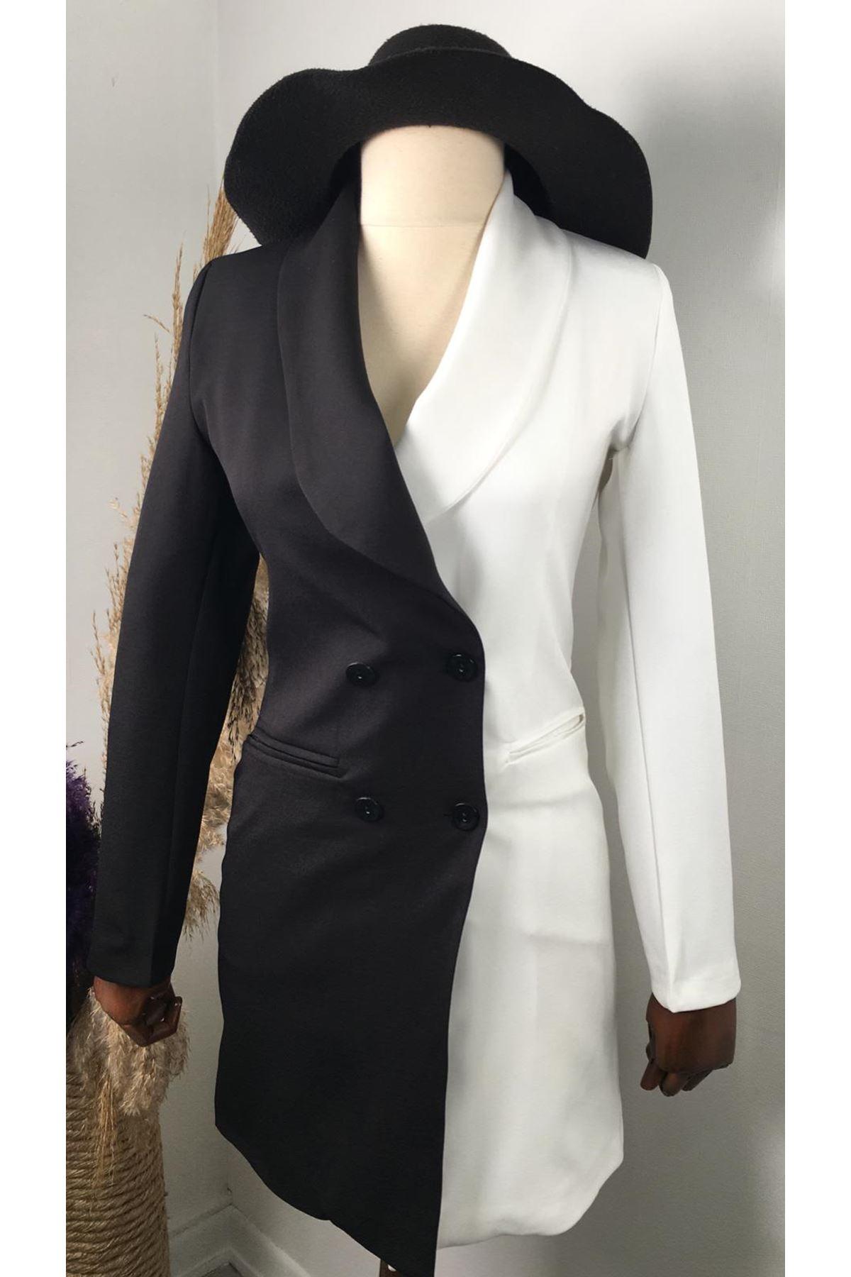 Çift Renk Garnili Vatkalı Ceket Elbise - Multi