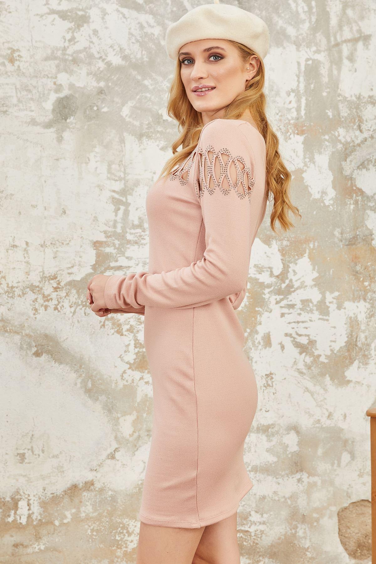 Göğüs taş detaylı akrelik elbise ES110 PUDRA