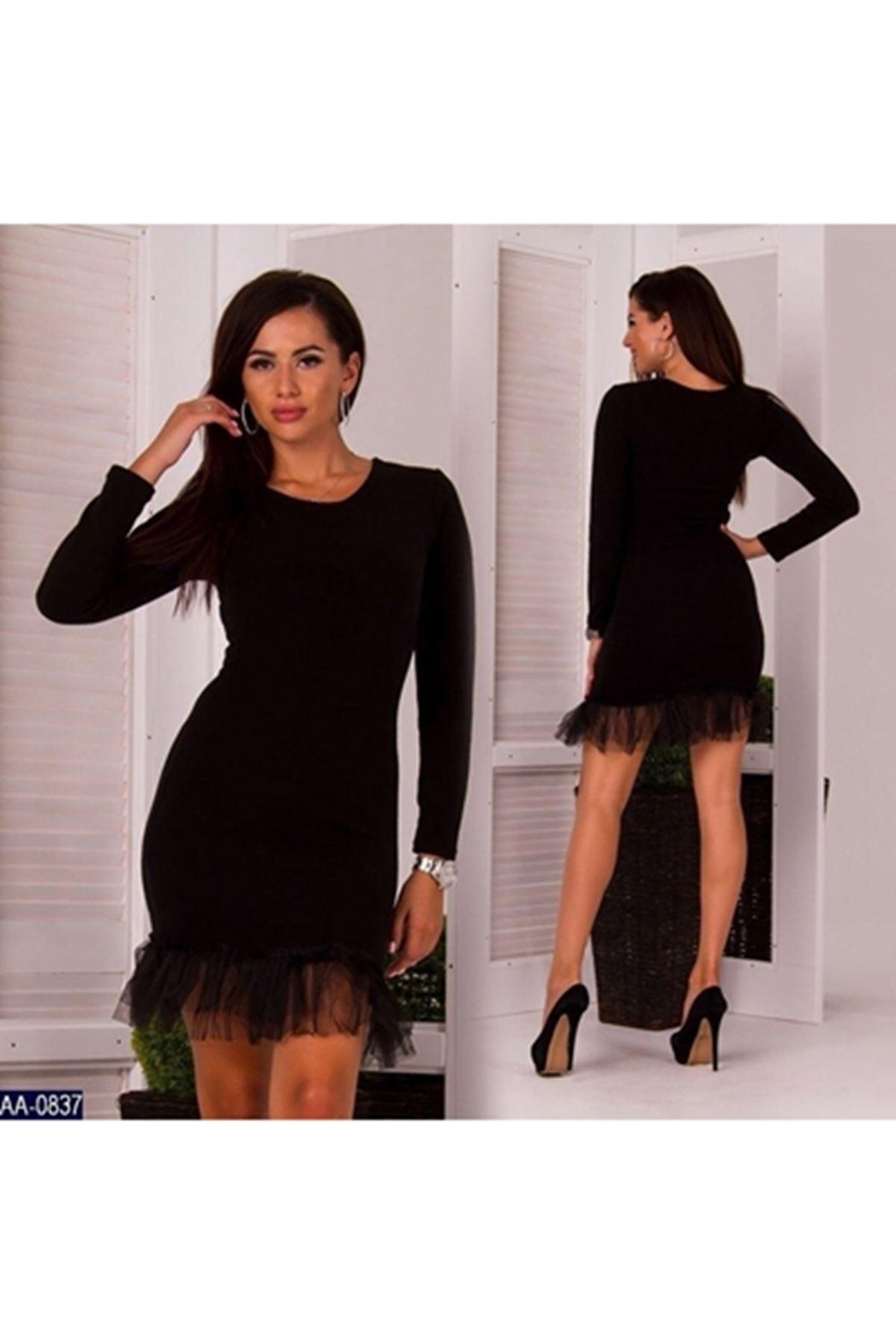 Eteği tül detaylı akrelik elbise (ES101) SİYAH