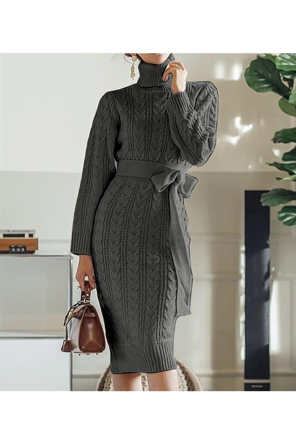 Boğazlı triko kemer elbise K10 GRİ