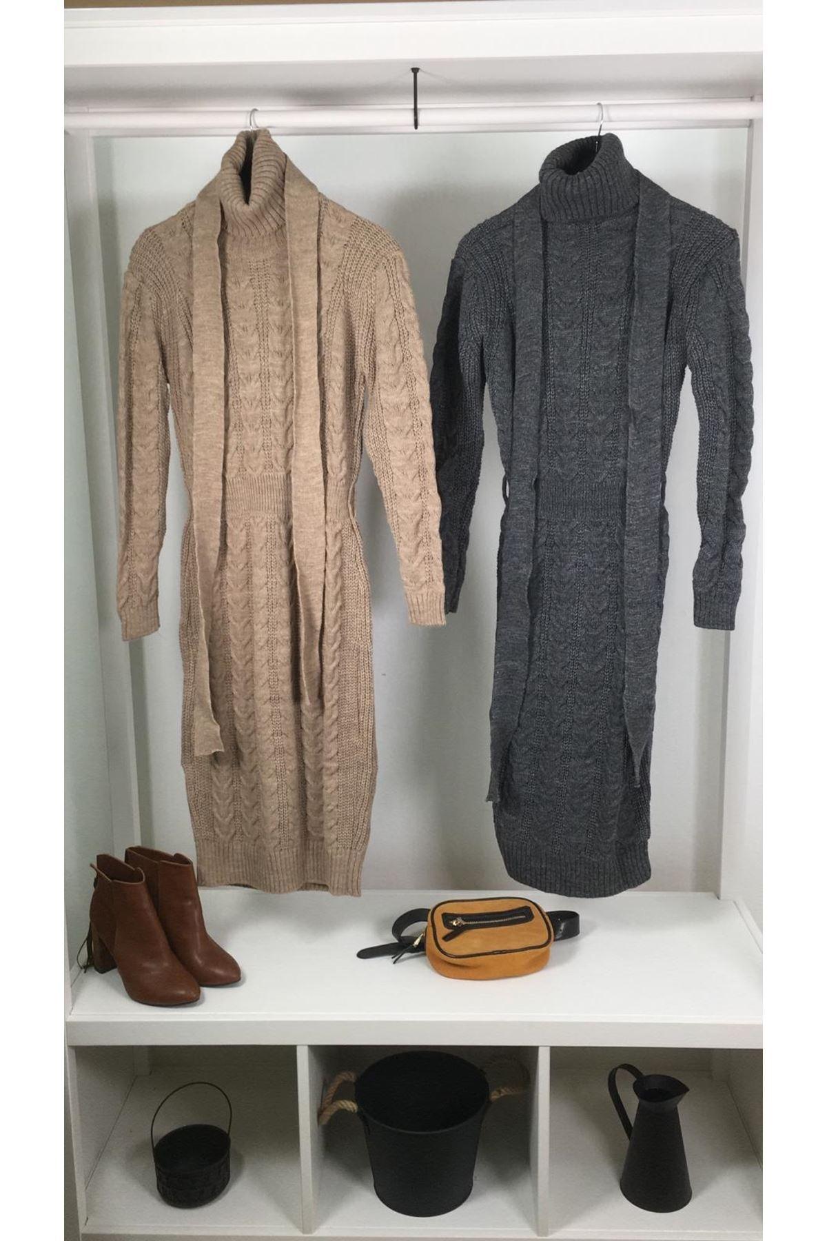 Boğazlı triko kemer elbise K10 VİZON