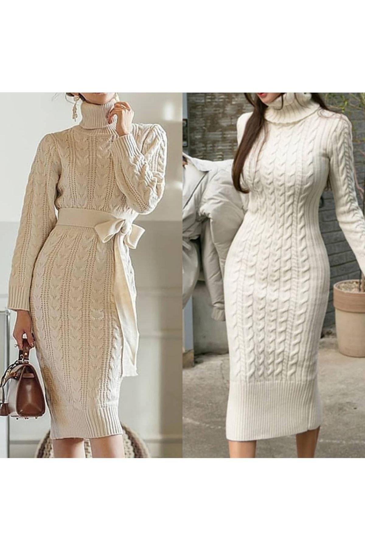 Boğazlı triko kemer elbise K10 TAŞ