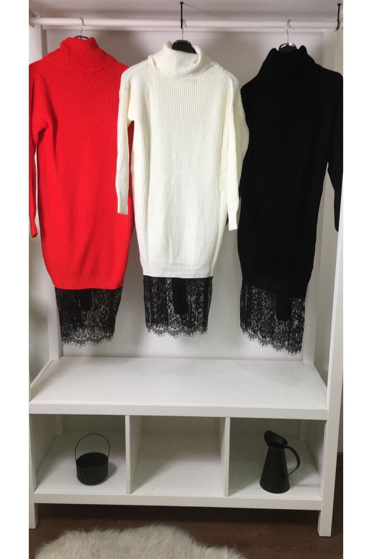 Eteği dantel boğazlı elbise (KL895) EKRU
