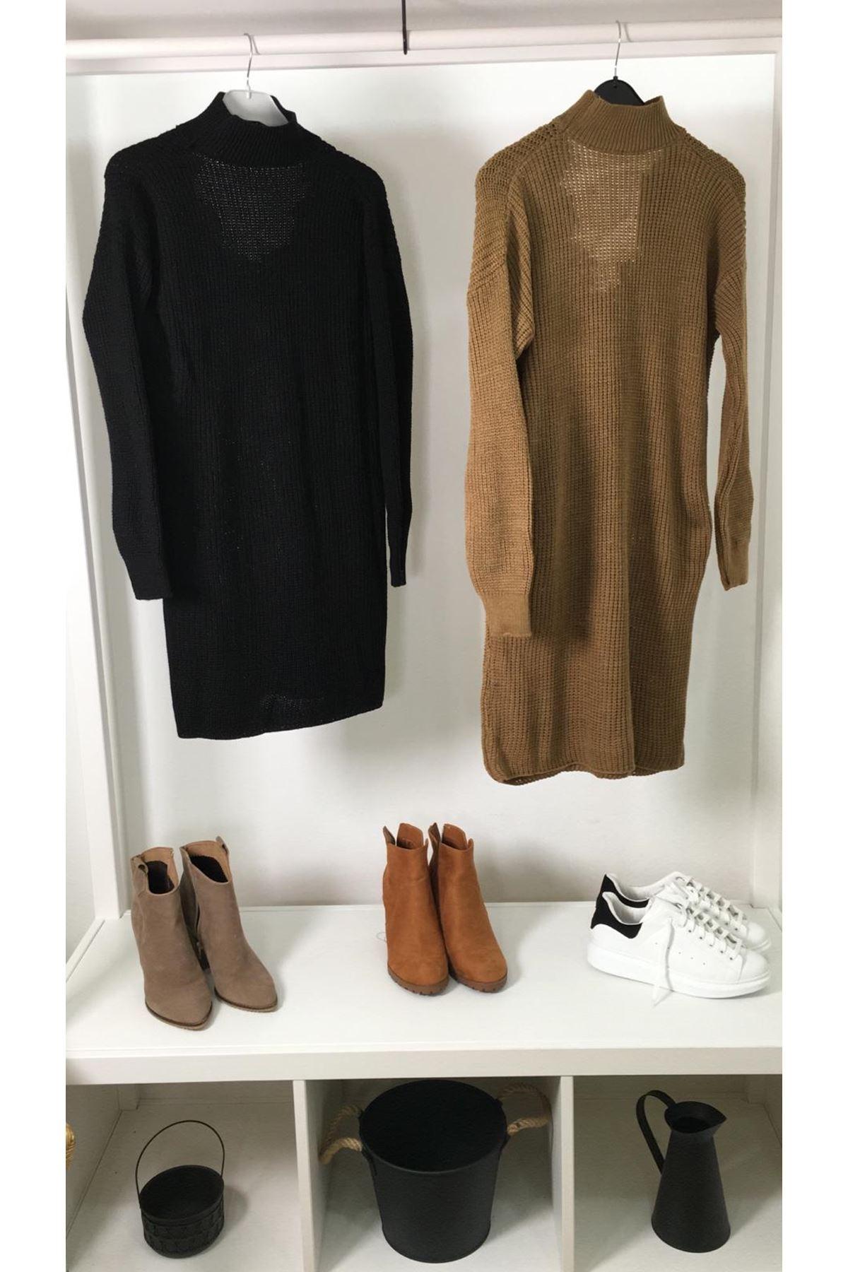 Yaka dantel trıko elbise K25 SİYAH