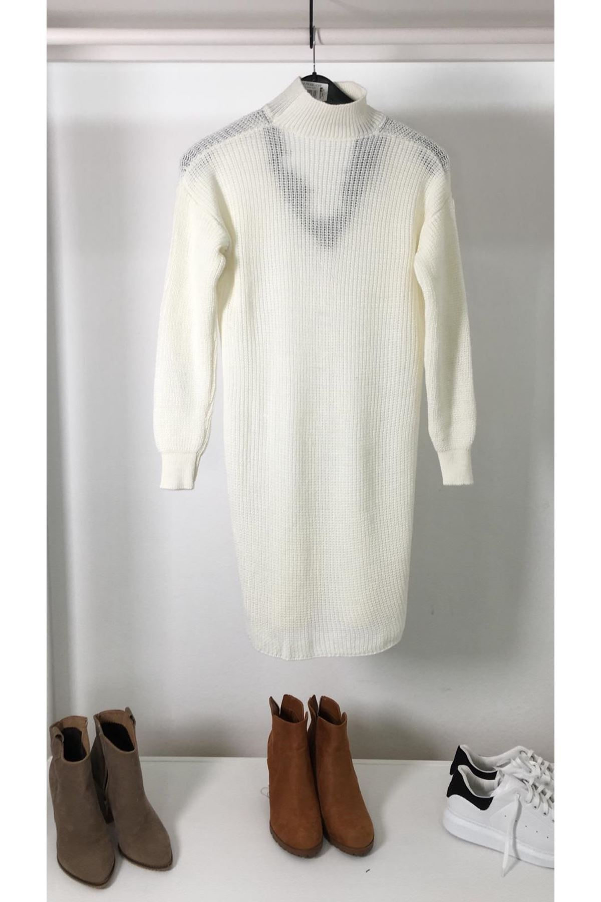 Yaka dantel trıko elbise K25 EKRU