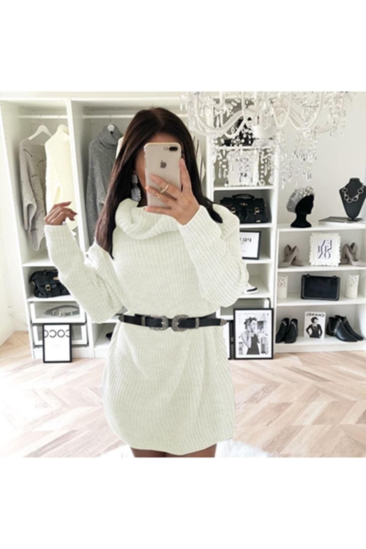 Boğazlı salaş trıko elbise K09 EKRU