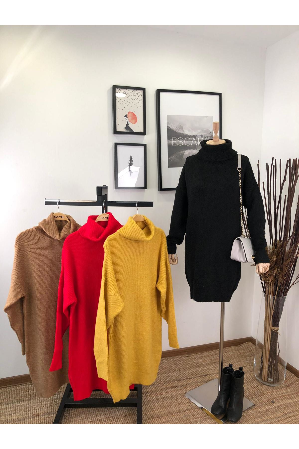 Boğazlı kemersiz trıko elbise (K07) SİYAH