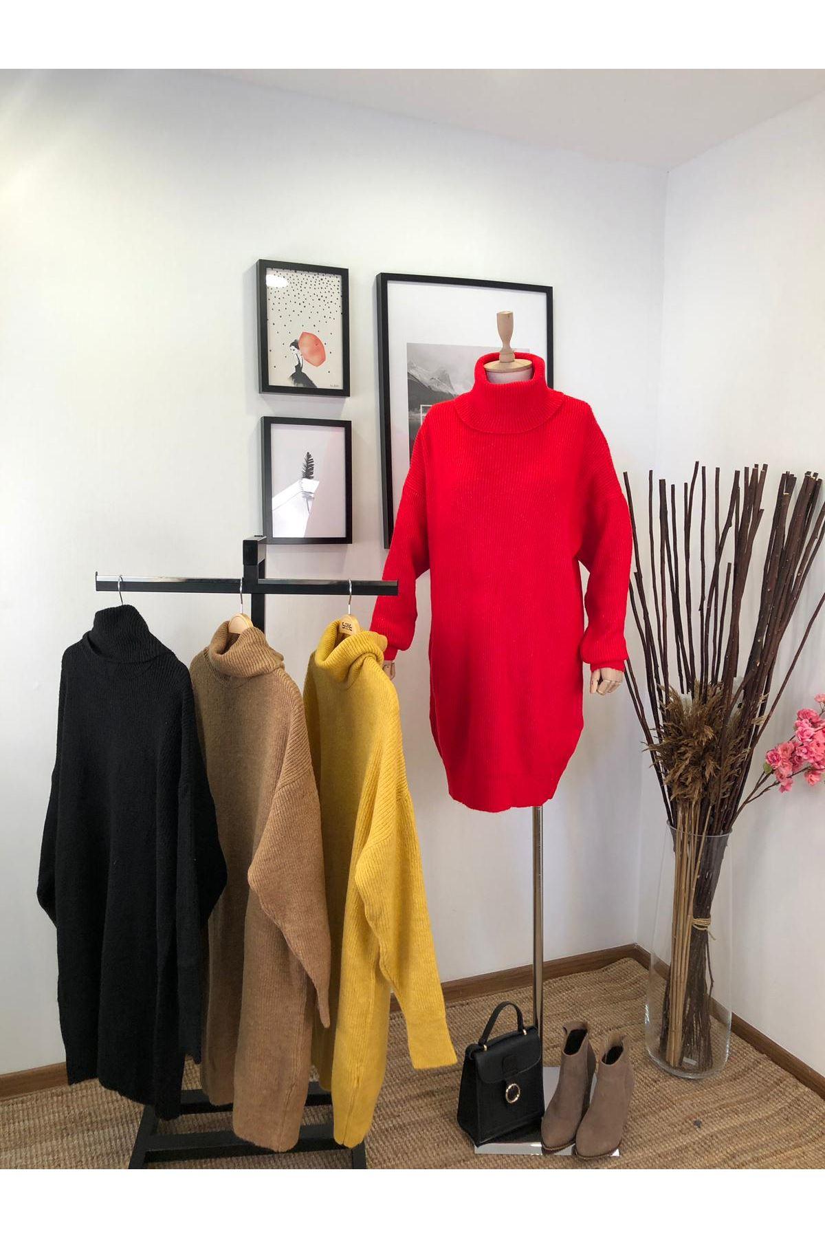 Boğazlı kemersiz trıko elbise (K07) NAR ÇİÇEĞİ