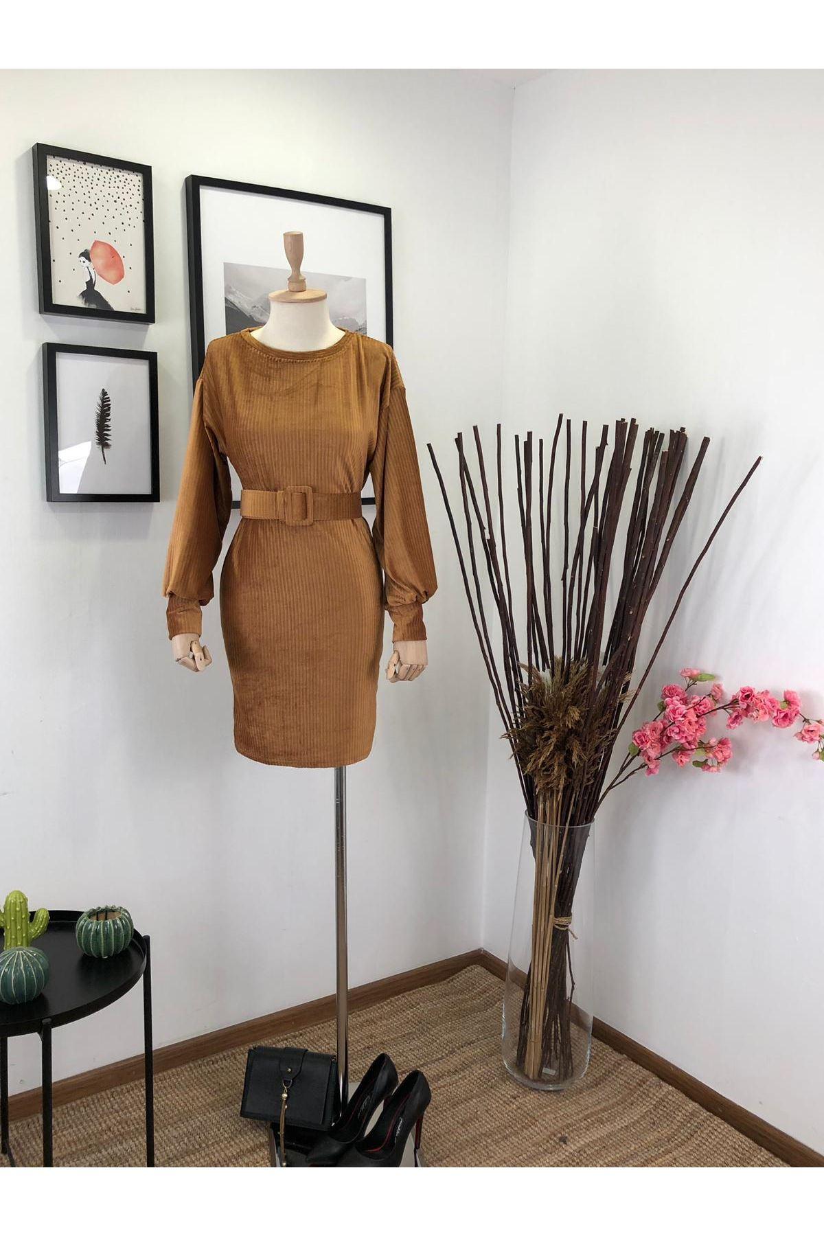 İthal Kadife Kemerli Elbise M17 CAMEL