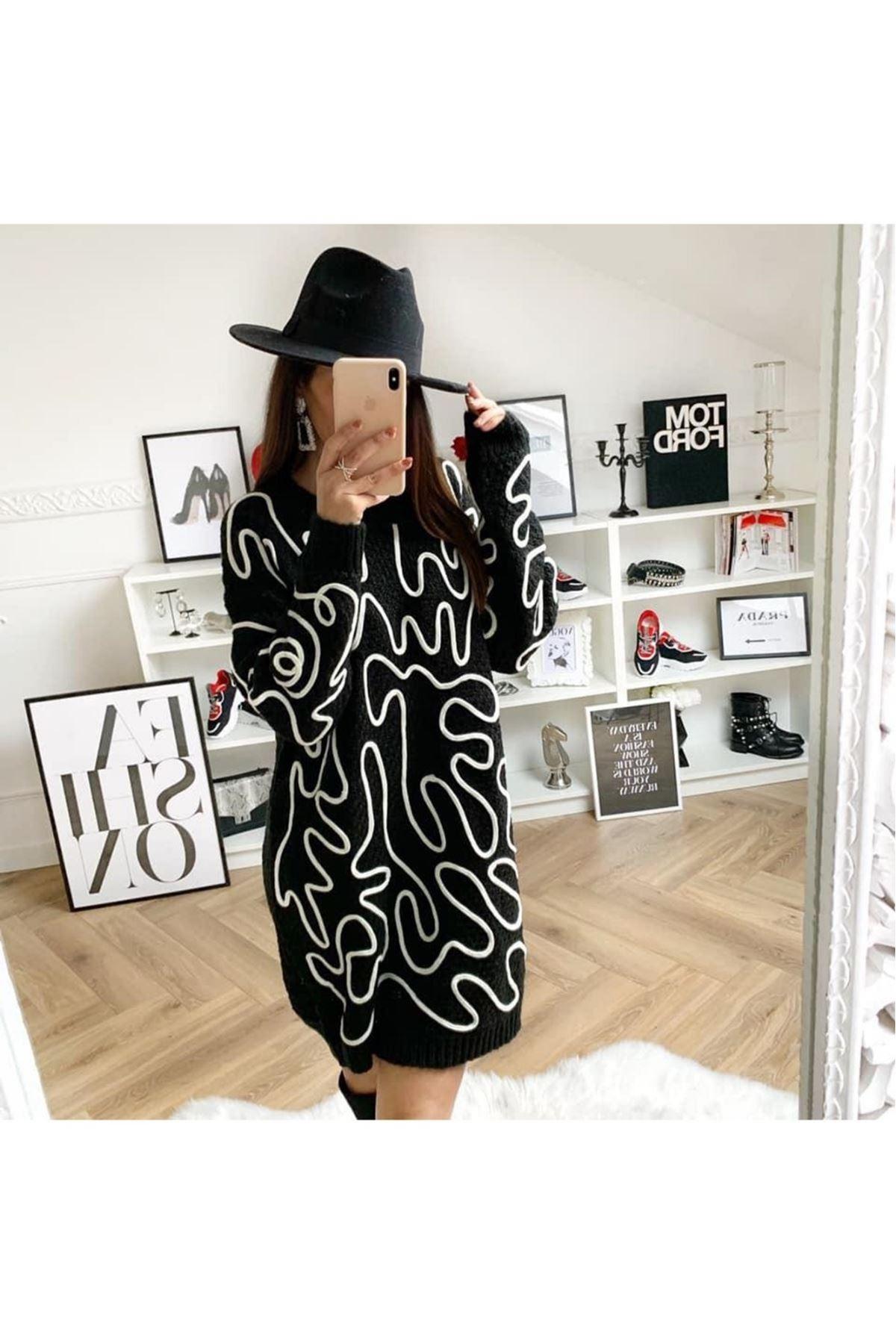 Aplikeli iki renk trıko elbise YSB104 SİYAH