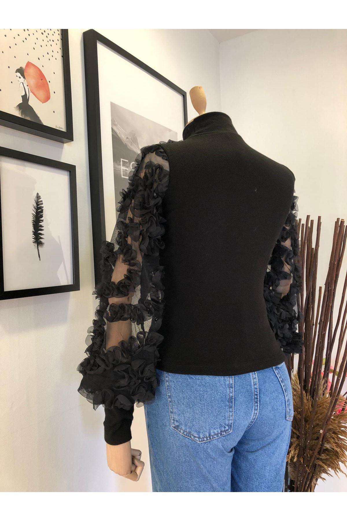Tül tasarımlı trıko bluz VS178 SİYAH