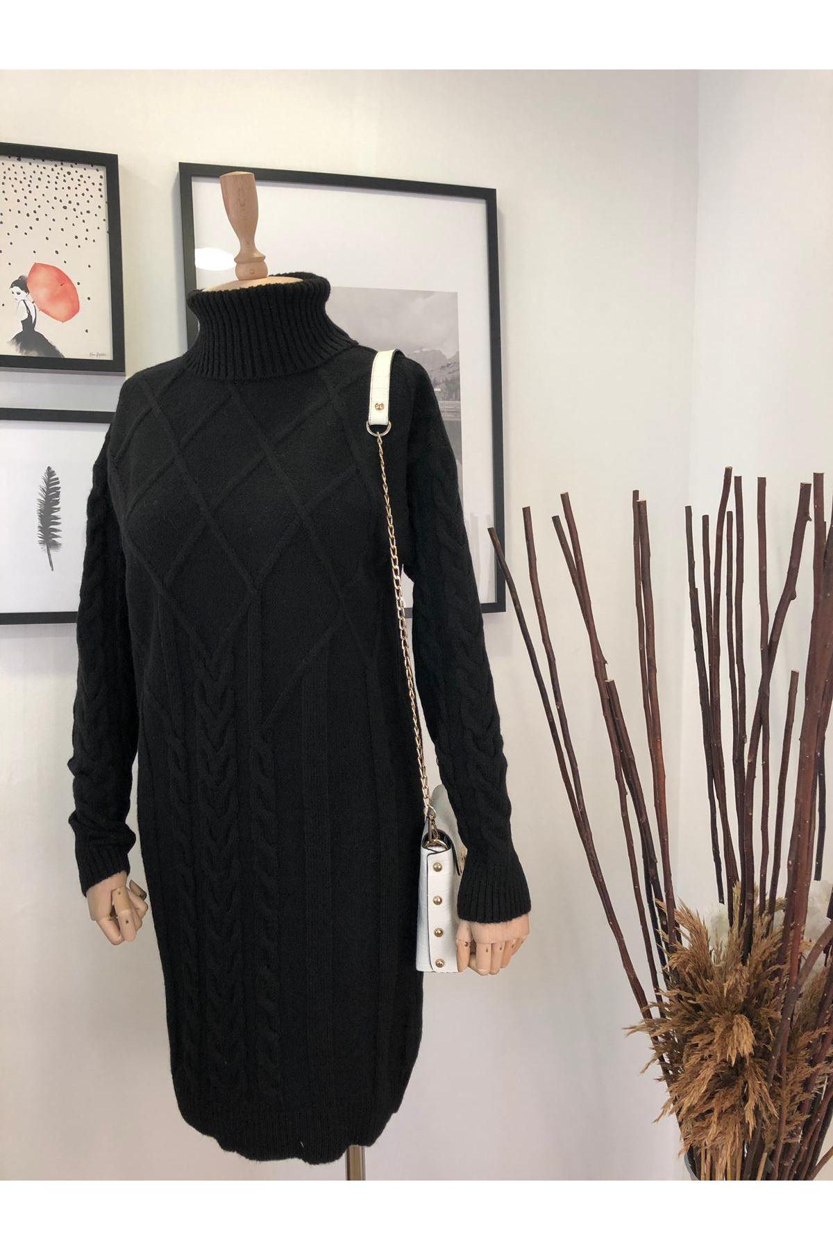 Boğazlı Önü İşlemeli Saç Örgü Triko Elbise K12 SİYAH
