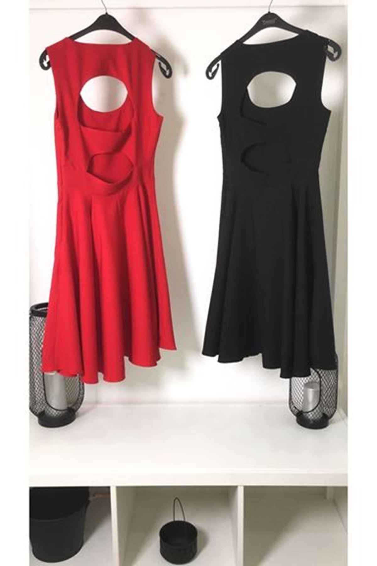 Sırt yırtmaçlı kolsuz elbise KIRMIZI
