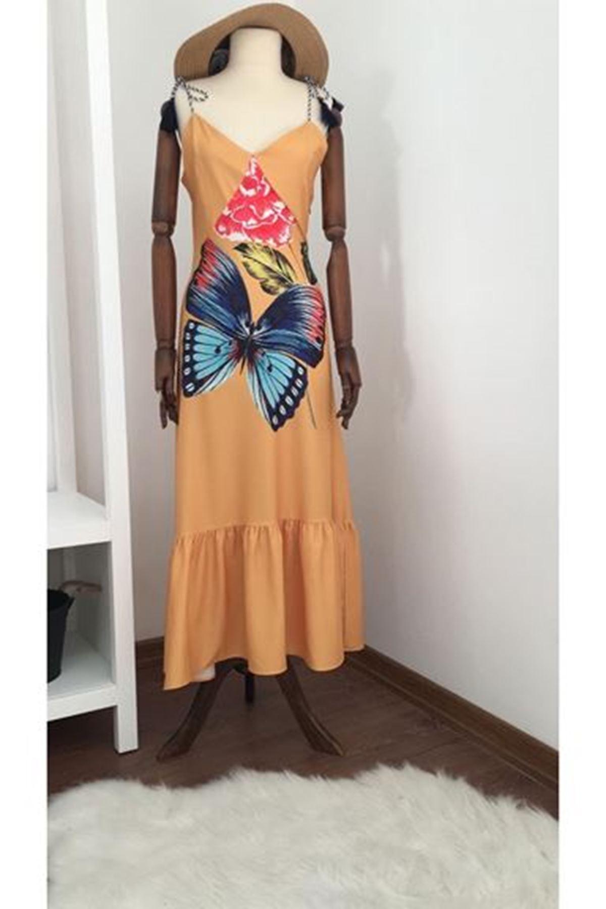 Kelebek desenli elbise SARI