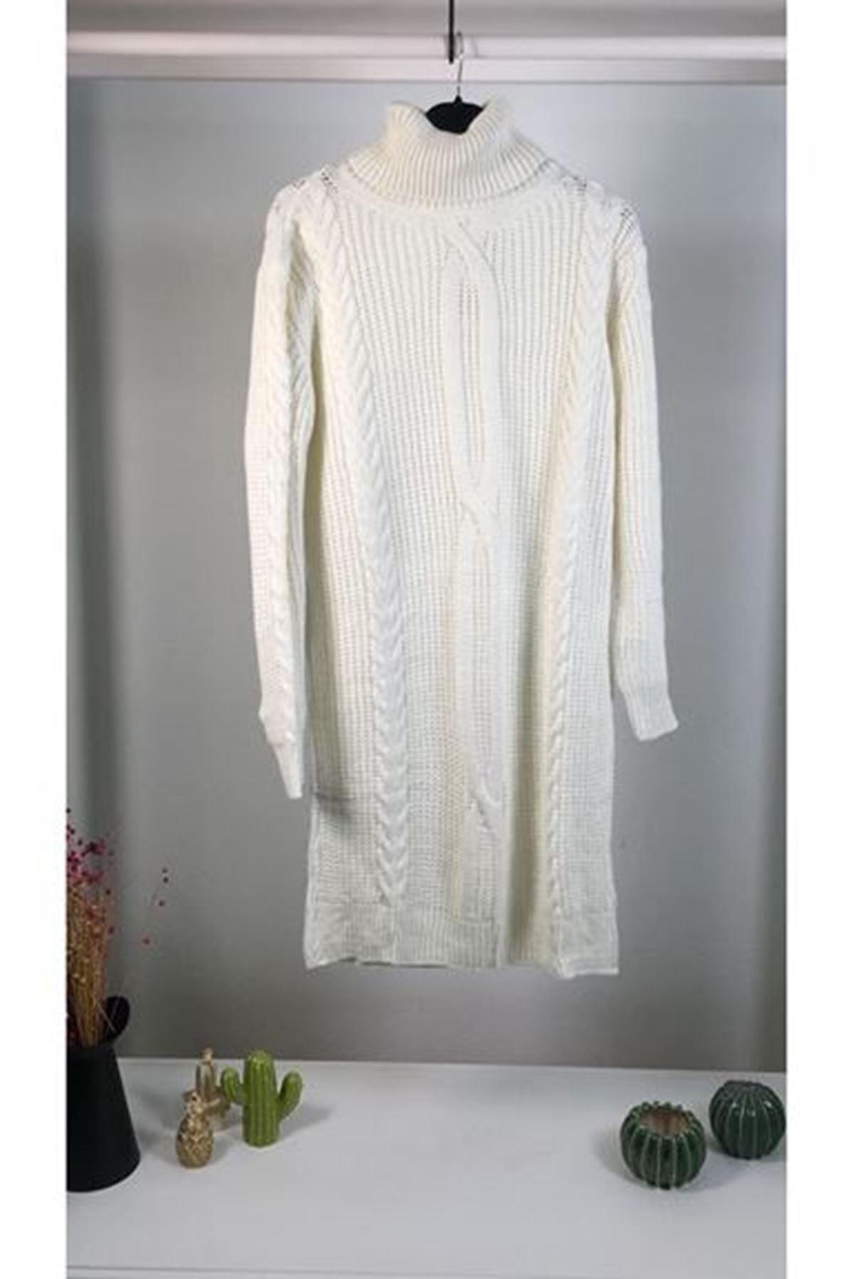 Saç örgü trıko boğazlı elbise K01 EKRU