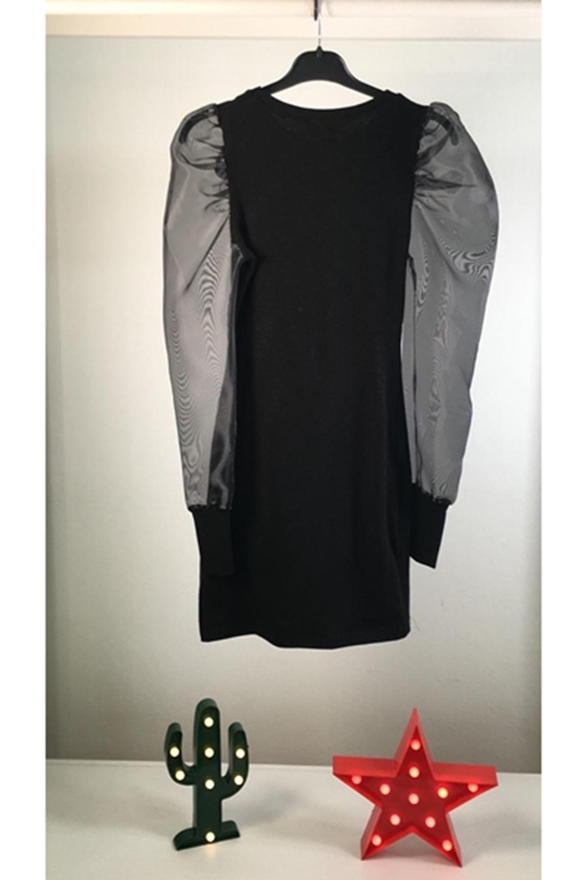Karpuz kol tül detaylı akrelik elbise - SİYAH - VS151