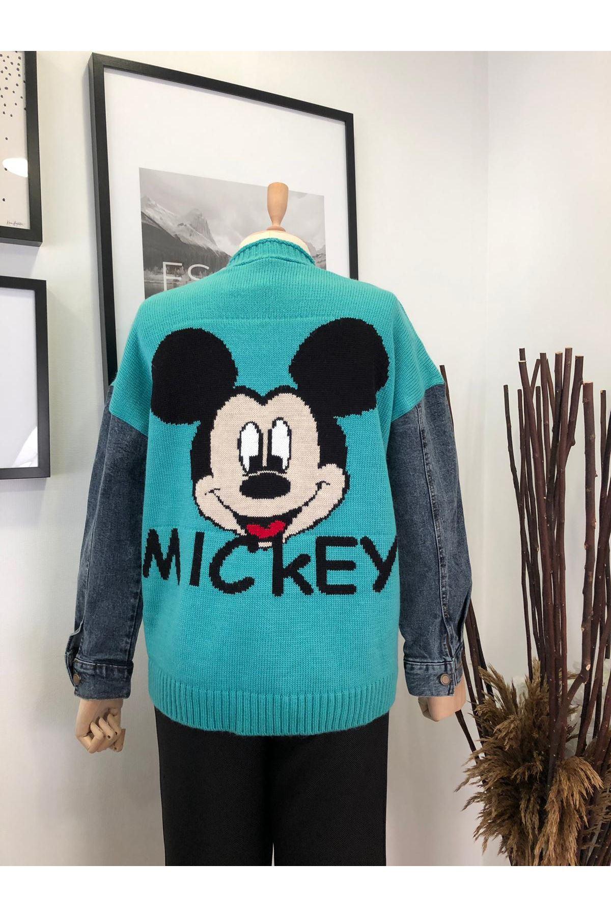 Kolları Kot Trıko Kolları Kot Trıko Mickey Ceket K73 YEŞİL