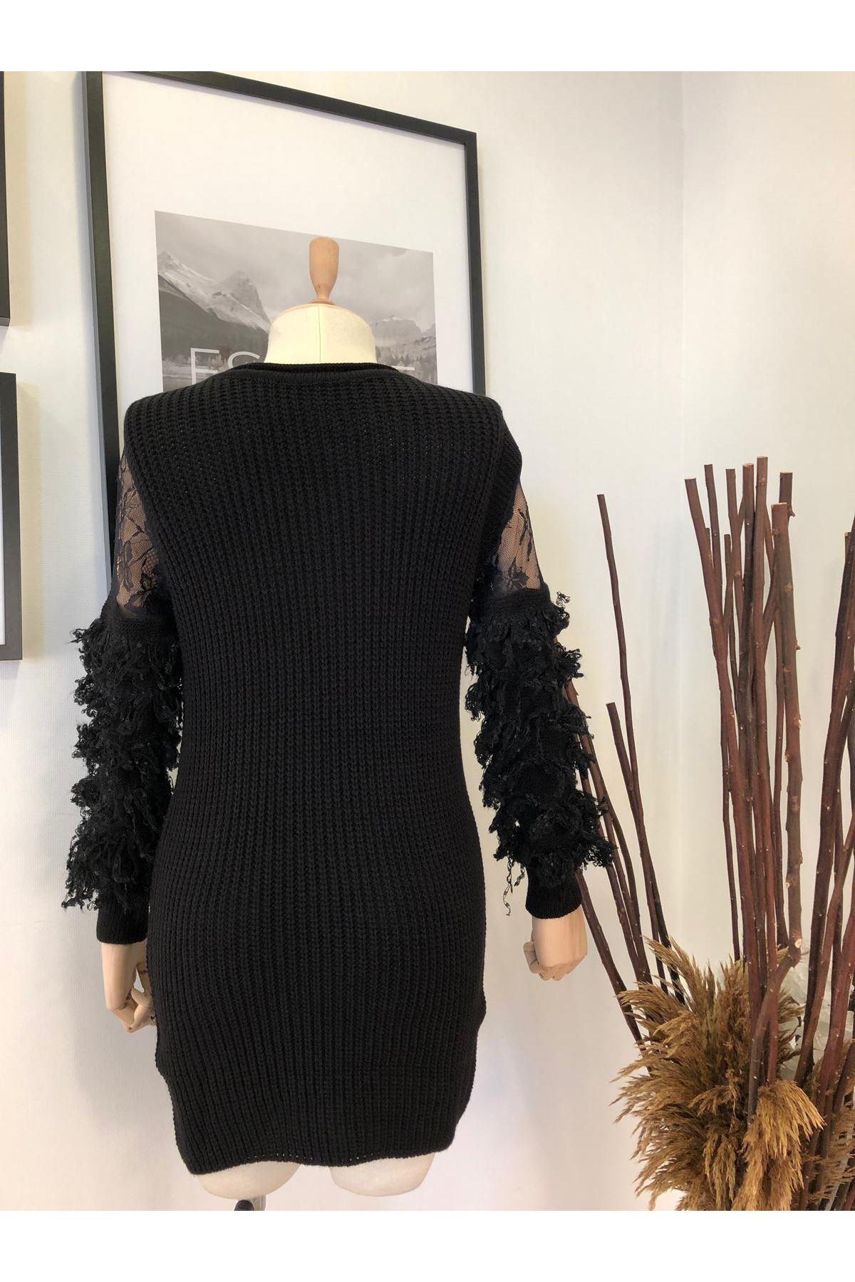 Kollar Pul Püskül Triko Elbise K78 - Siyah