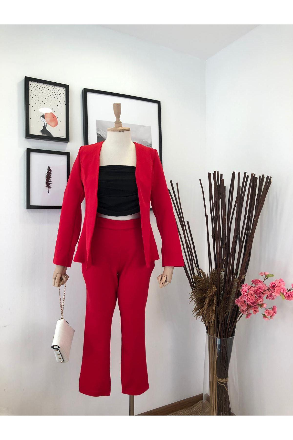 Bilek Pantolon İkili Klasik Takım - Kırmızı