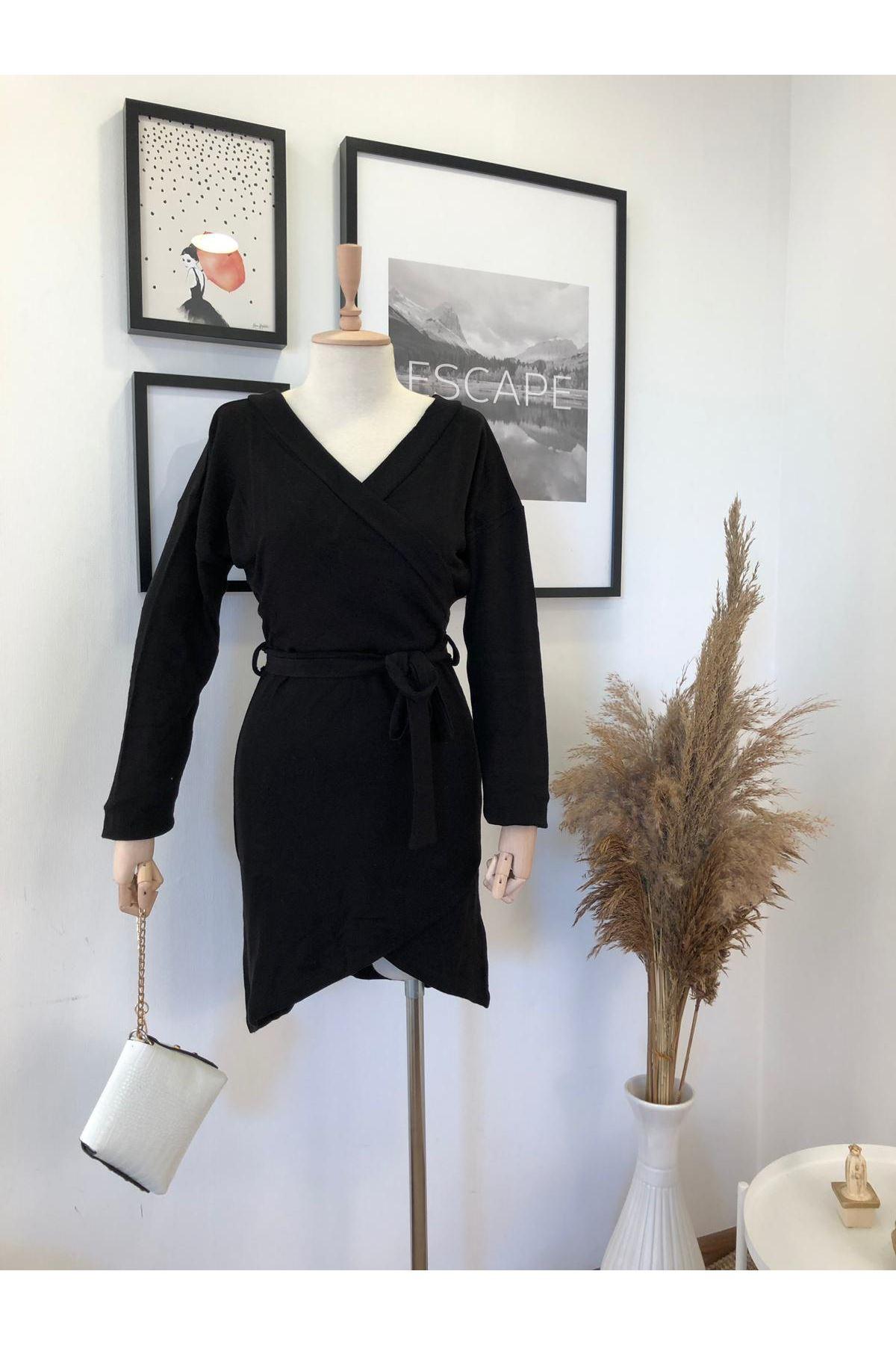 Derin V yaka akrelik elbise K41 SİYAH