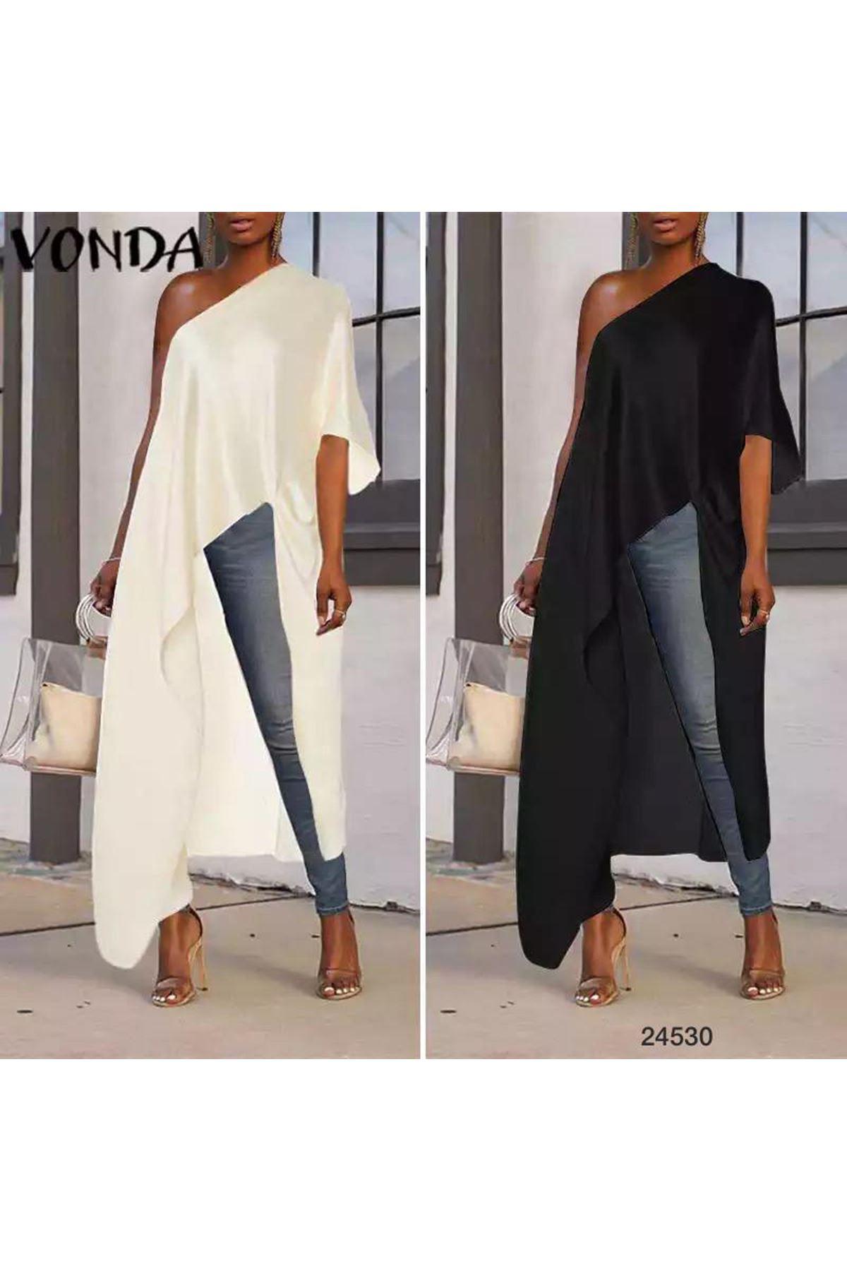 Tek Omuzdan Tasarım Tunik Bluz - Beyaz