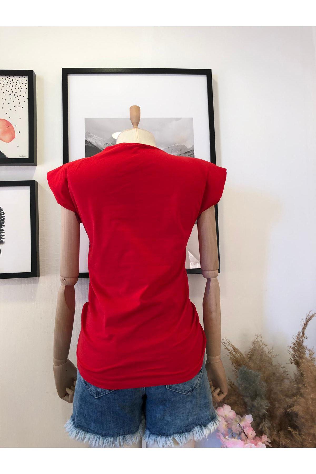 Omuz Vatkalı T-shirt - Kırmızı